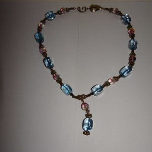 Blue~Purple Glass Beaded Gold Tone Necklace